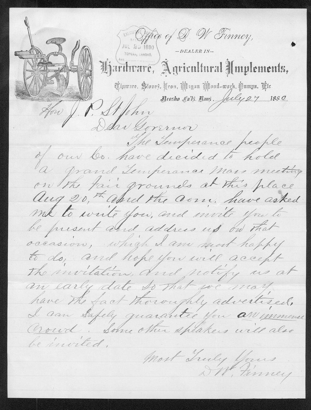 D. W. Finney to Governor John St. John