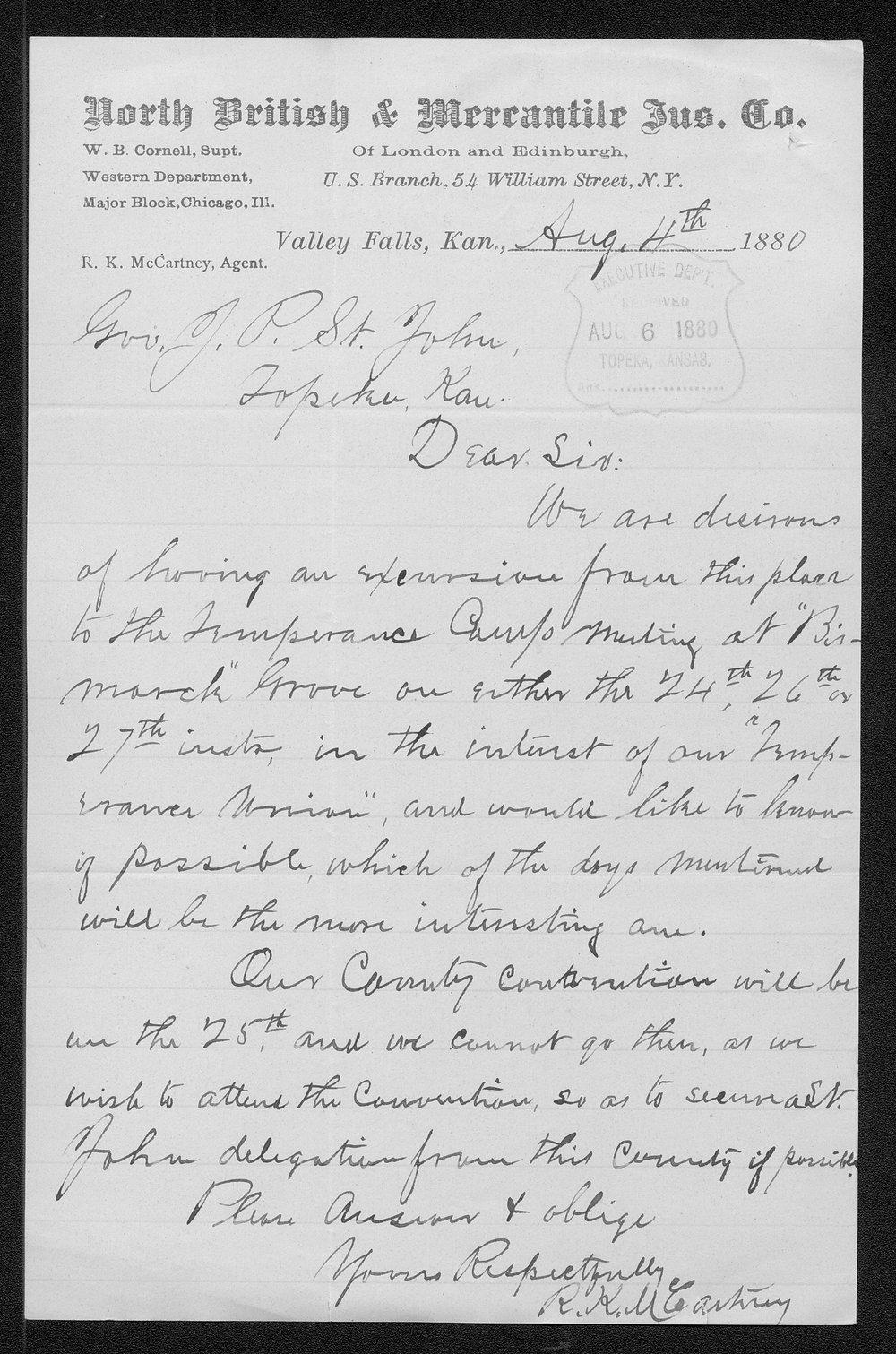 R. K. McCartney to Governor John St. John