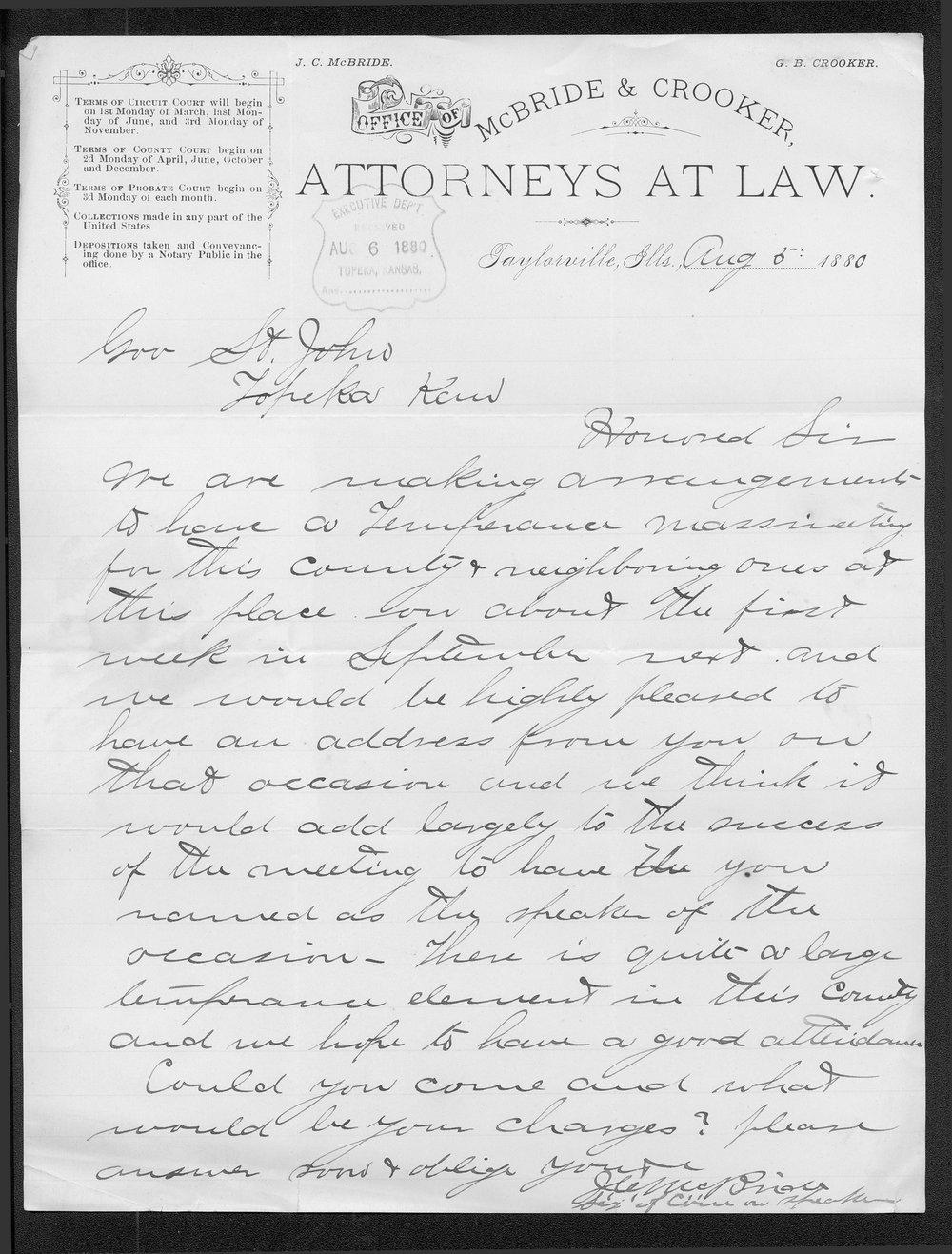 J. C. McBride to Governor John St. John
