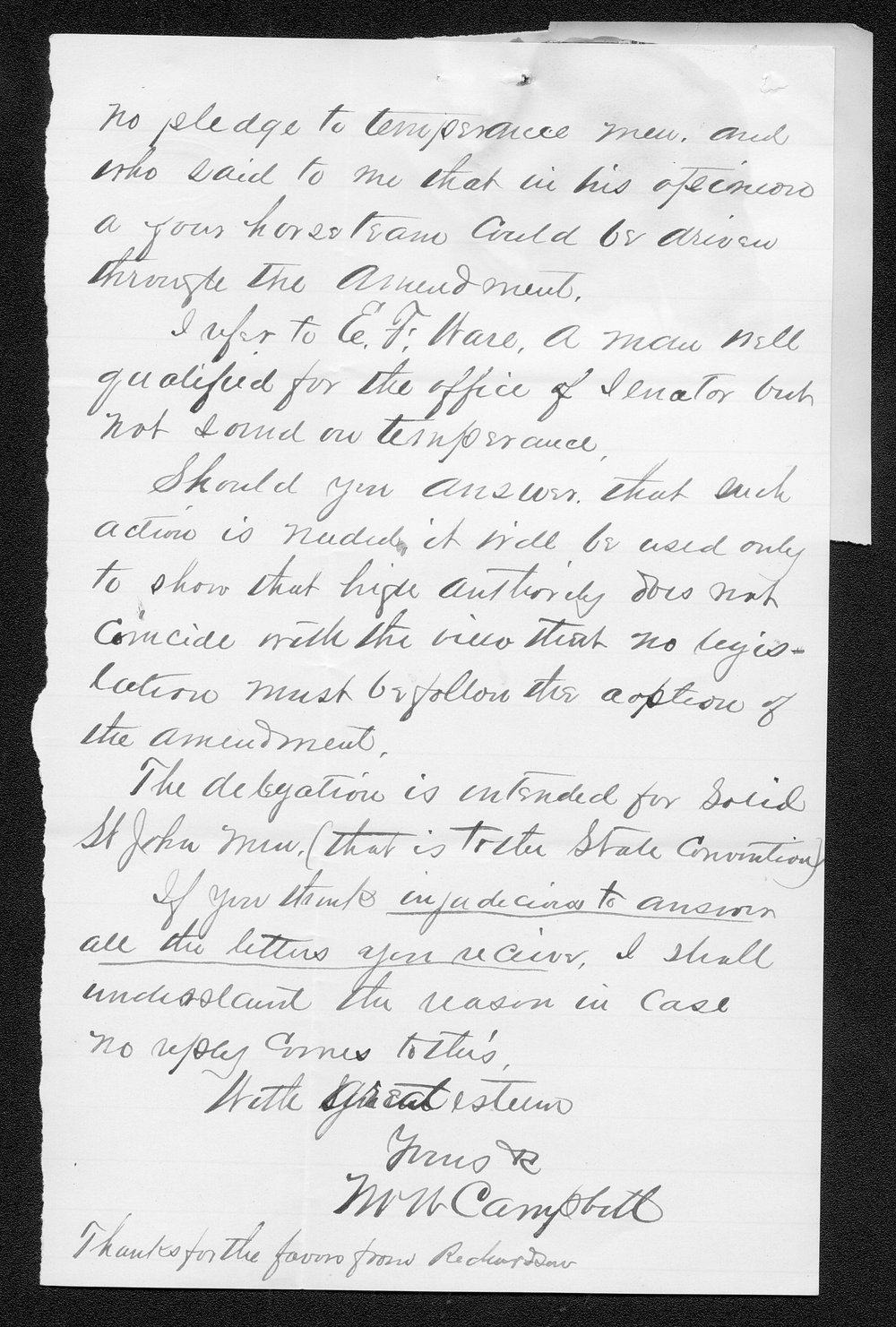 W. W. Campbell to Governor John St. John - 2
