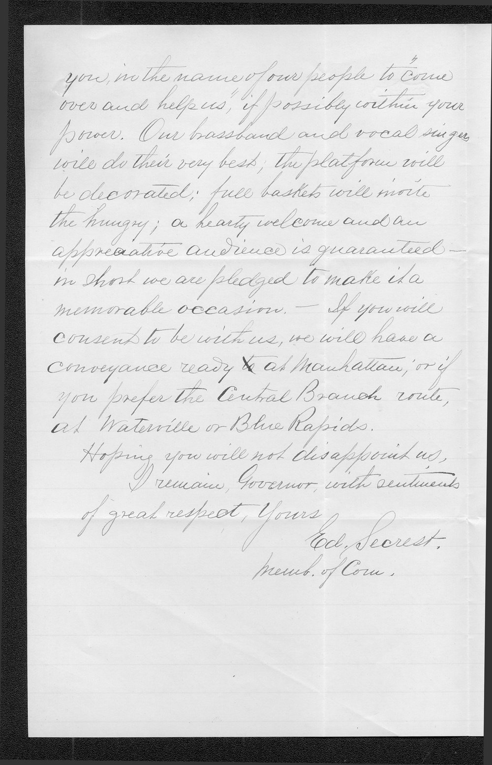 Ed Secrest to Governor John St. John - 2