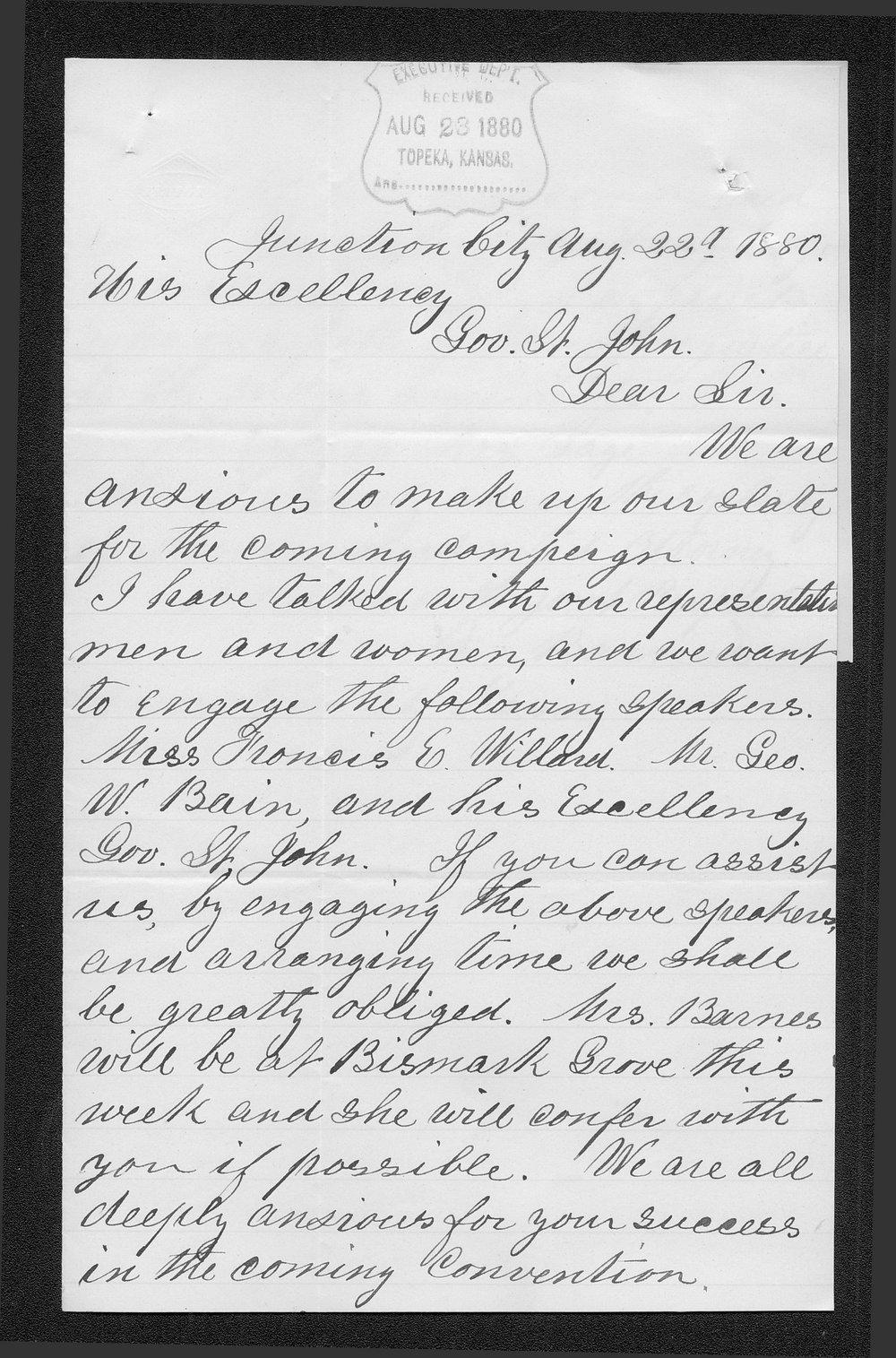 A. Barnes to Governor John St. John - 1