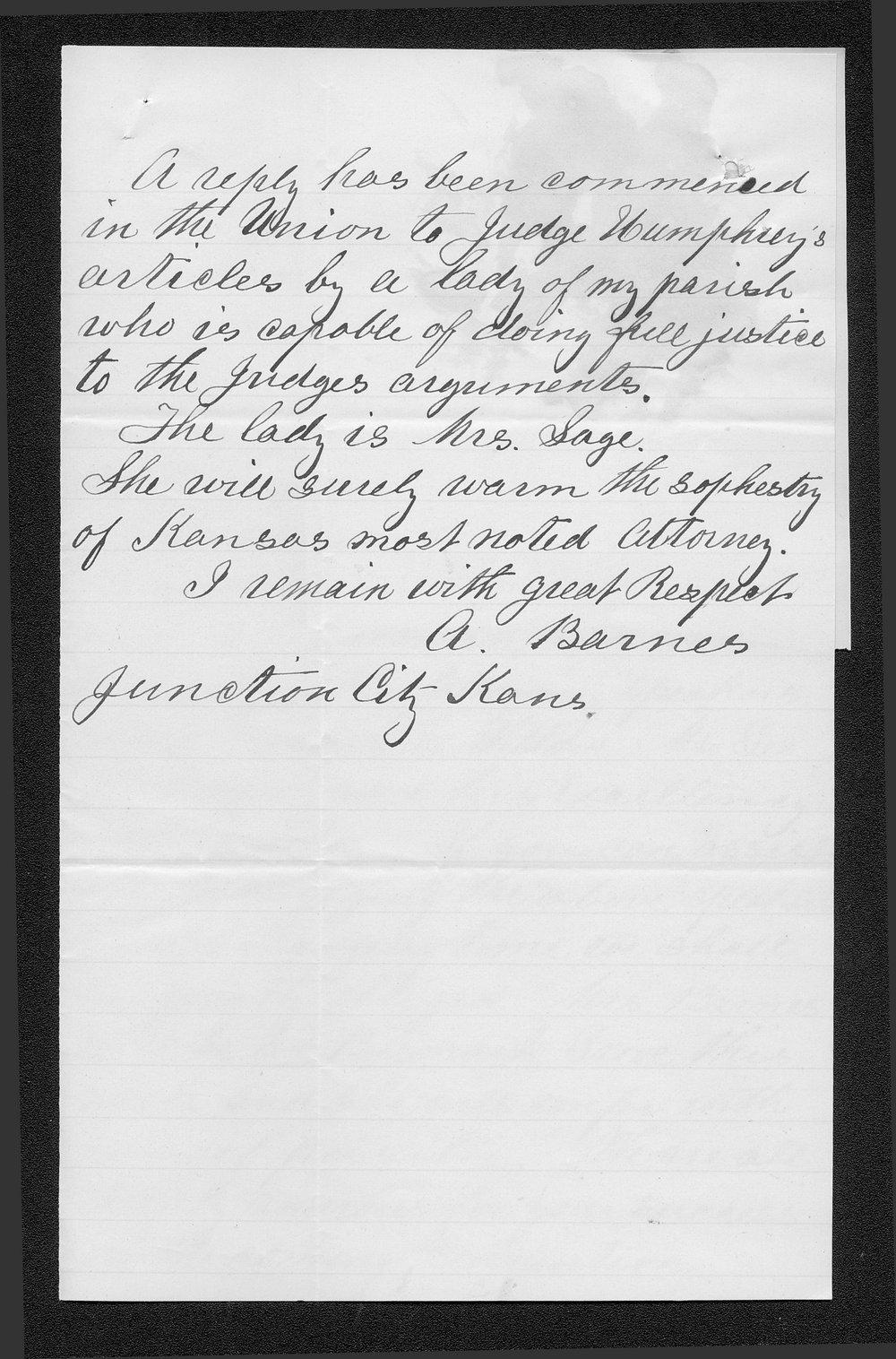 A. Barnes to Governor John St. John - 2