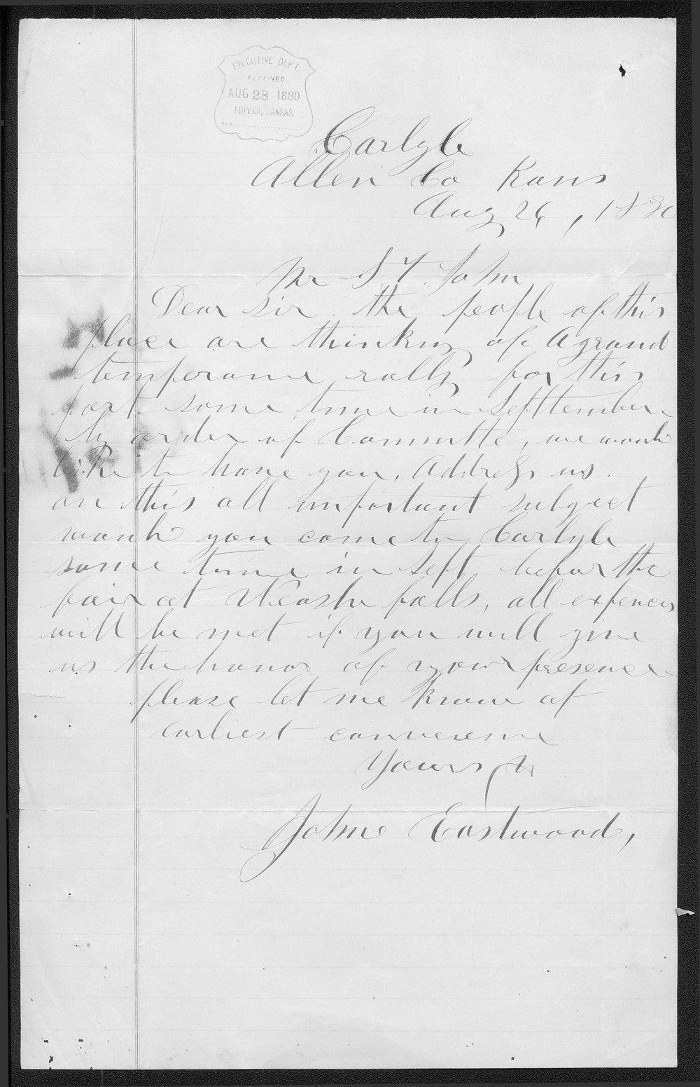 John Eastwood to Governor John St. John