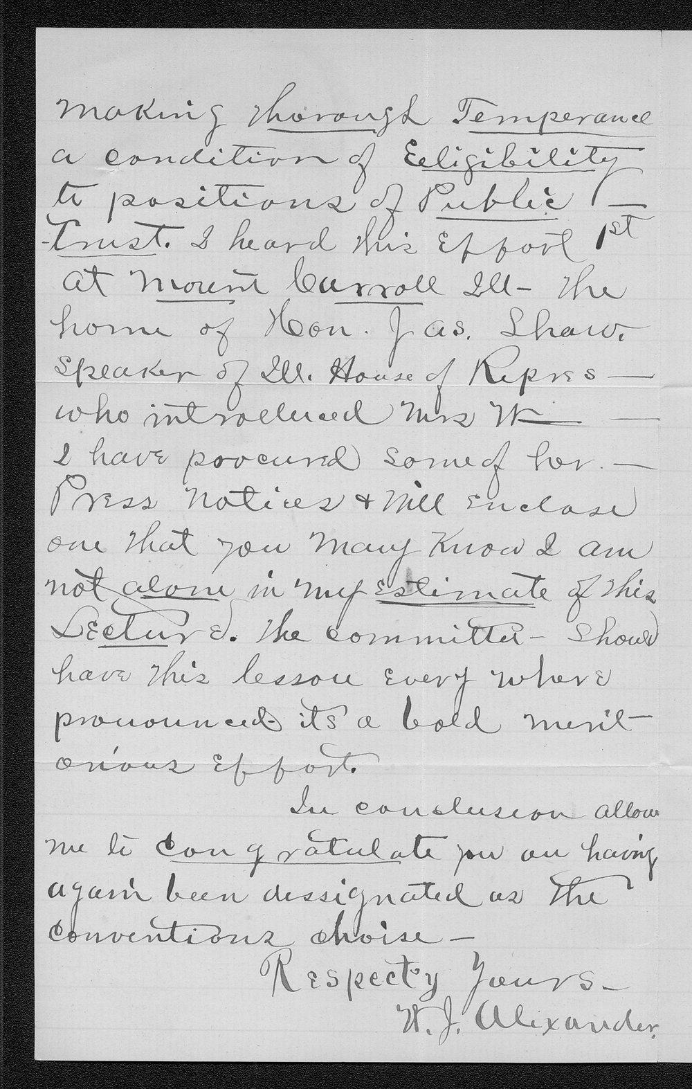 W. J. Alexander to Governor John St. John - 2