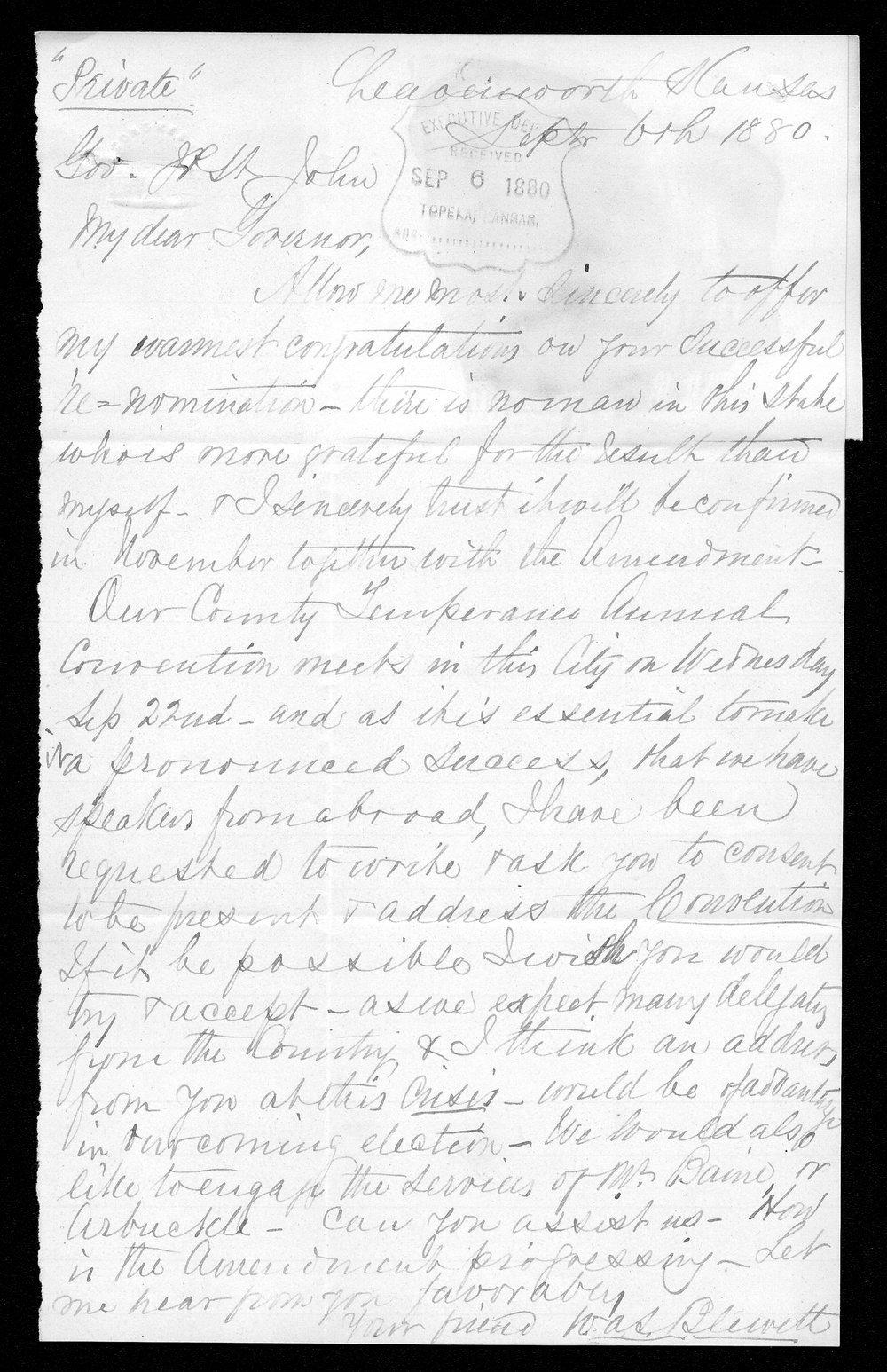 W. A. S. Blewett to Governor John St. John