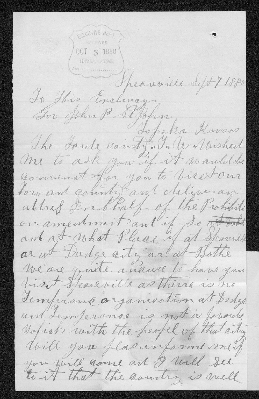 W. V. Johnston to Governor John St. John - 1