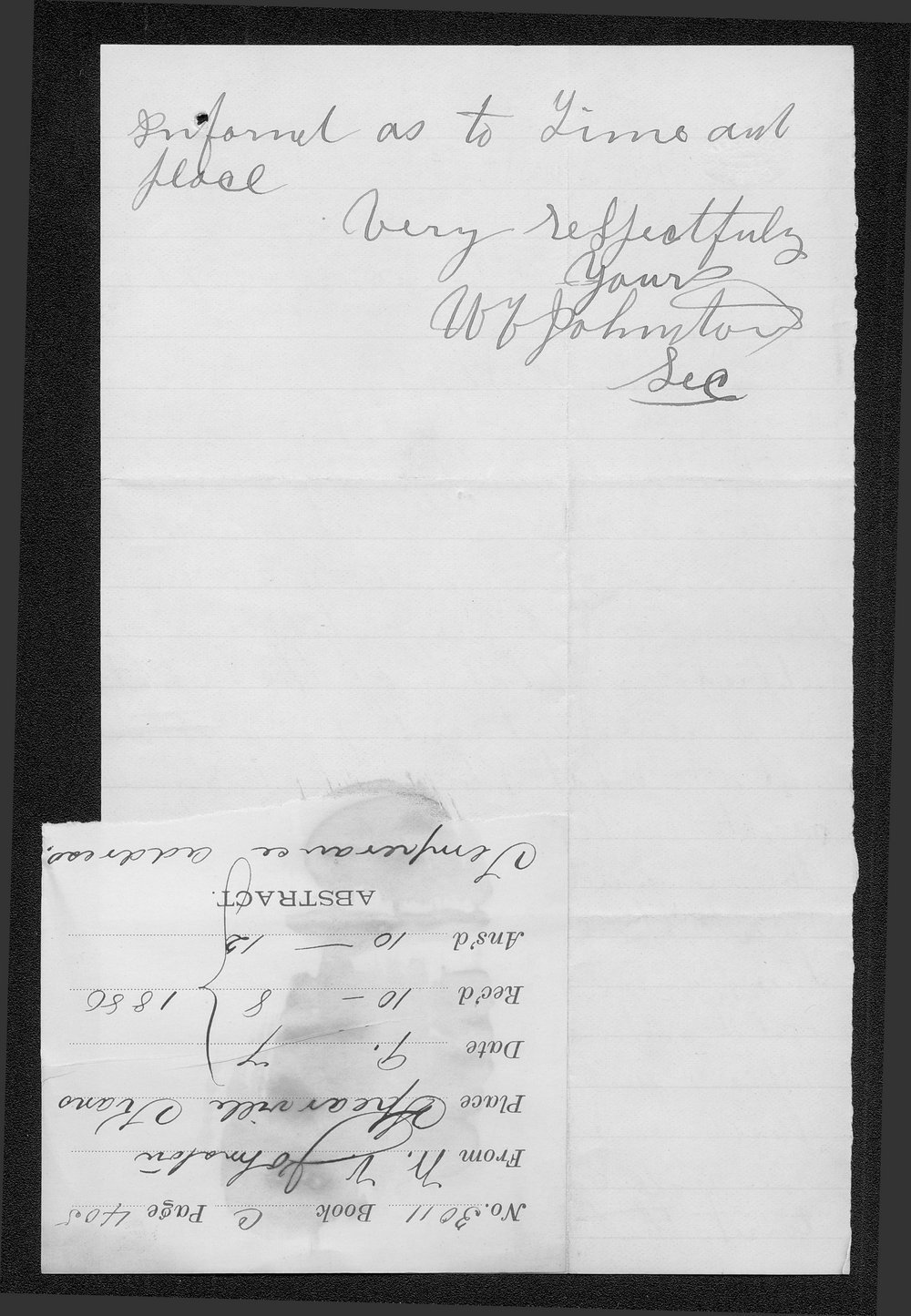 W. V. Johnston to Governor John St. John - 2