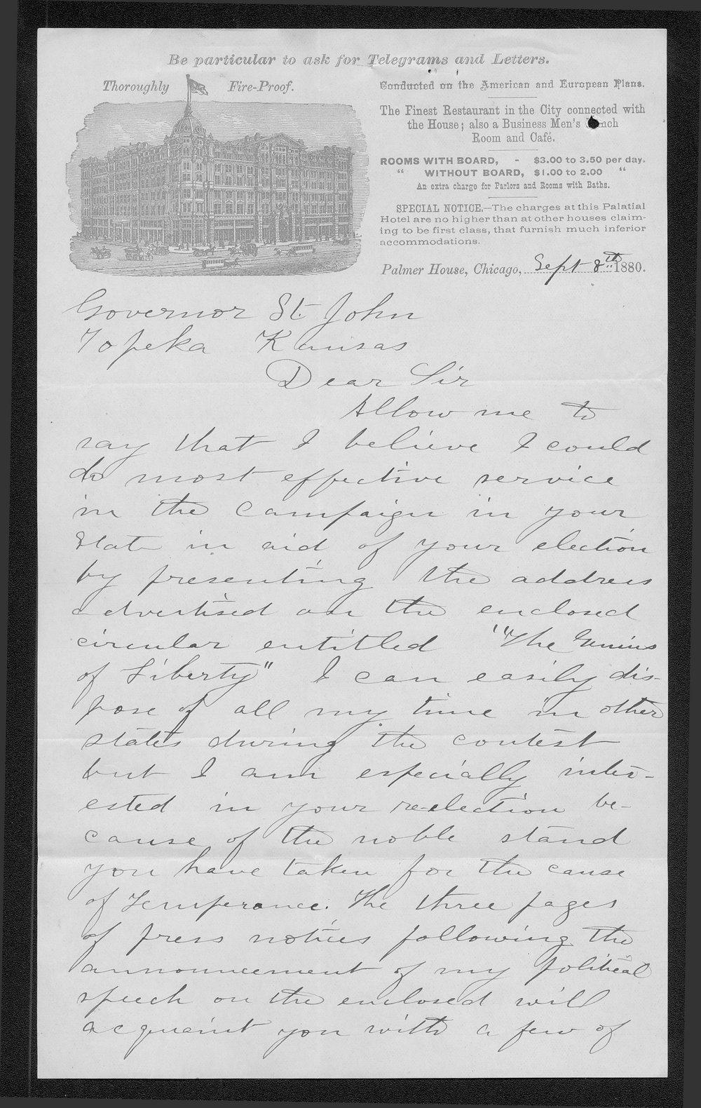 Matilda Fletcher to Governor John St  John - Kansas Memory