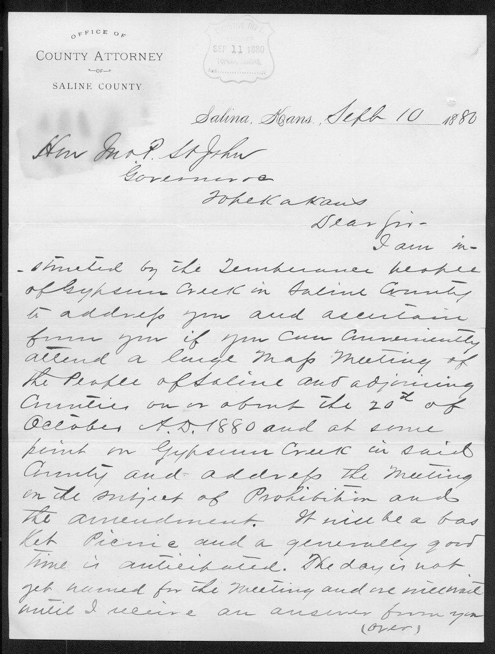 C. Post to Governor John St. John - 1