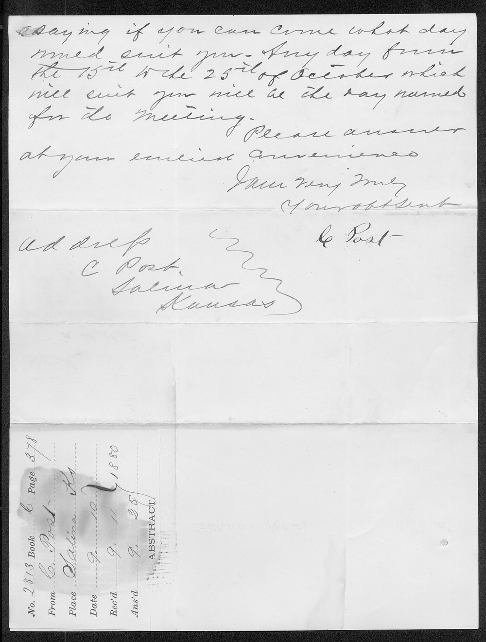 C. Post to Governor John St. John - 2