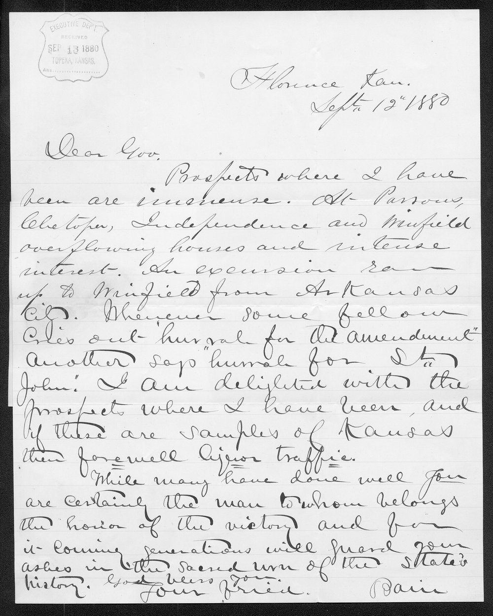 George Bain to Governor John St. John