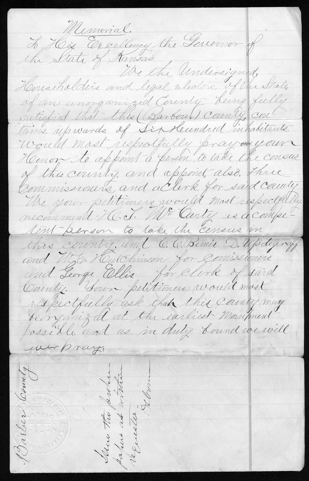 Barber county organization records - 1