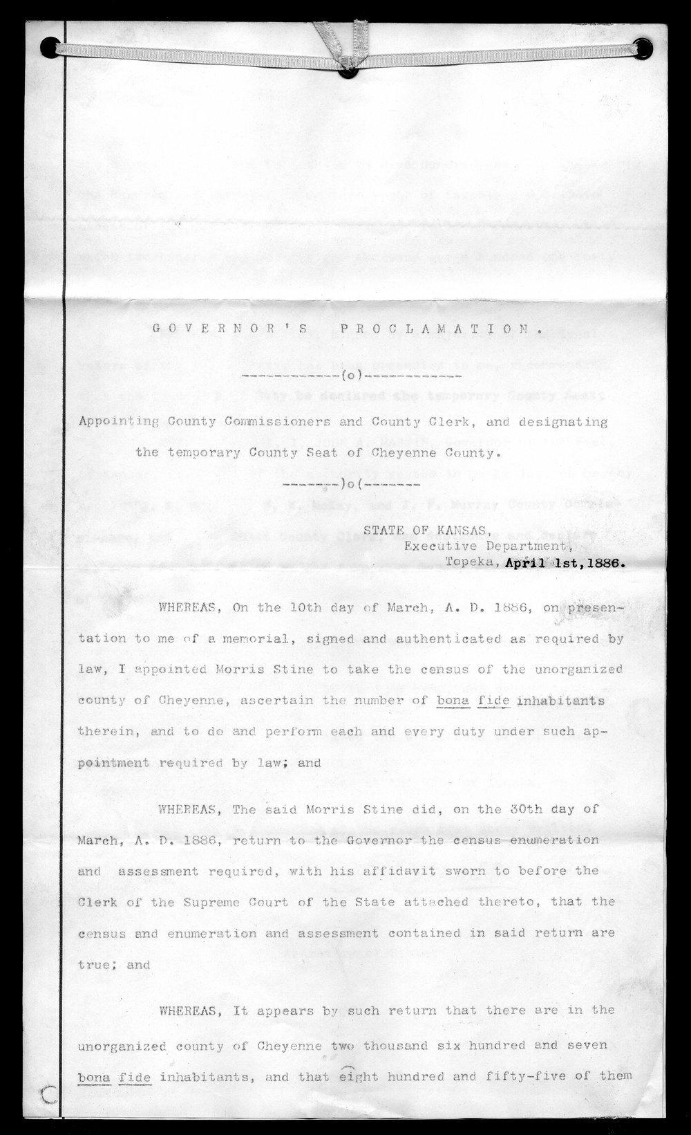Cheyenne County organization records - 1