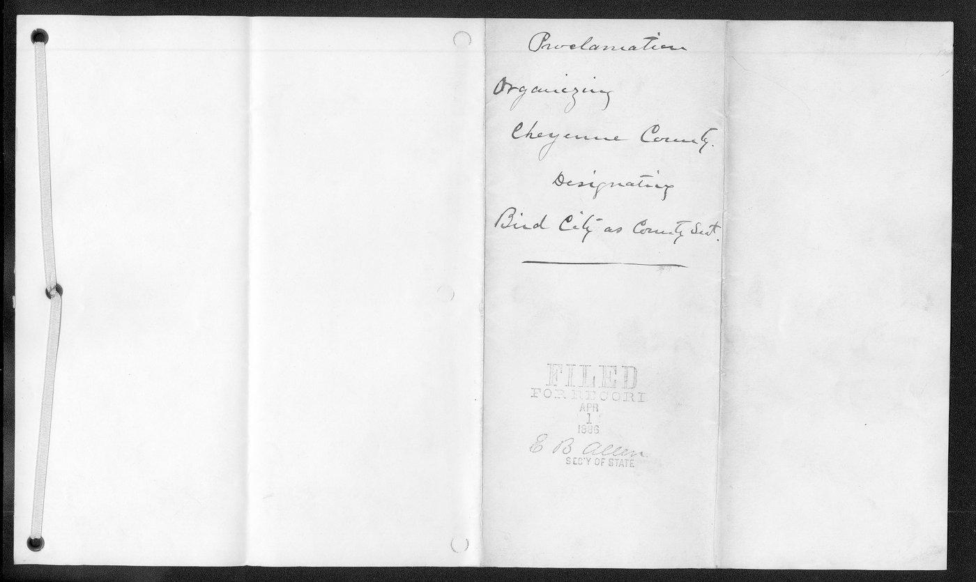 Cheyenne County organization records - 3