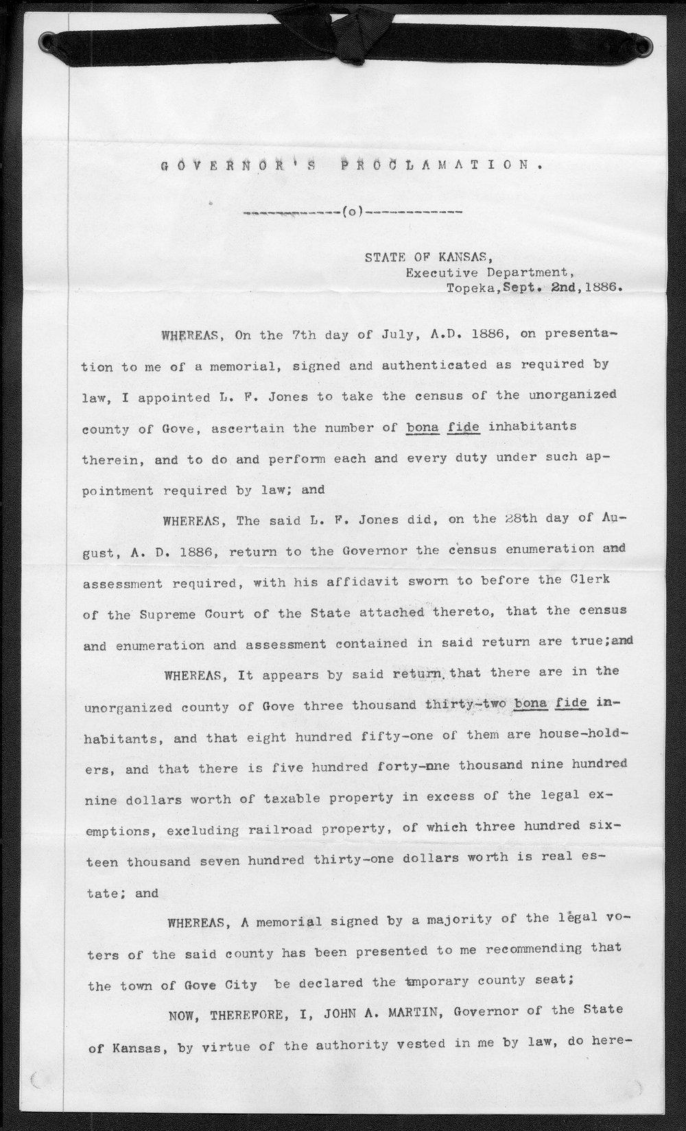 Gove County organization records - 5