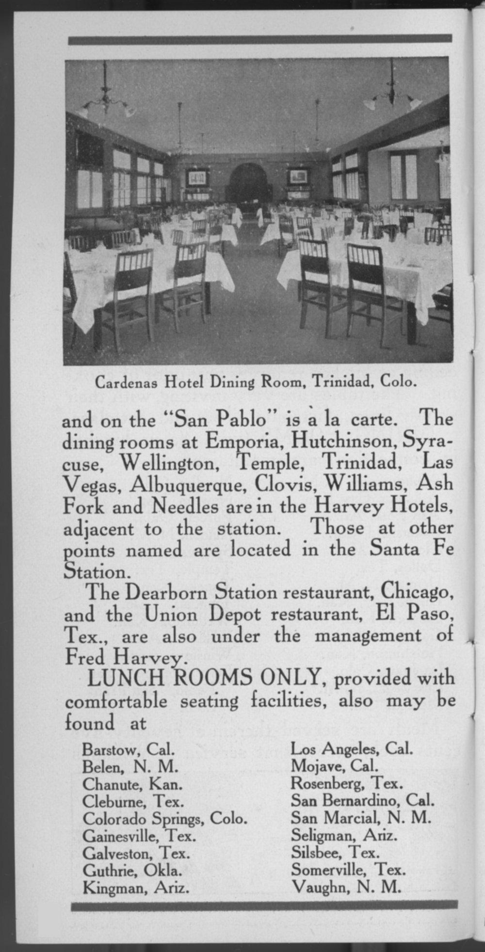 Fred Harvey meals, Santa Fe Railway - 4