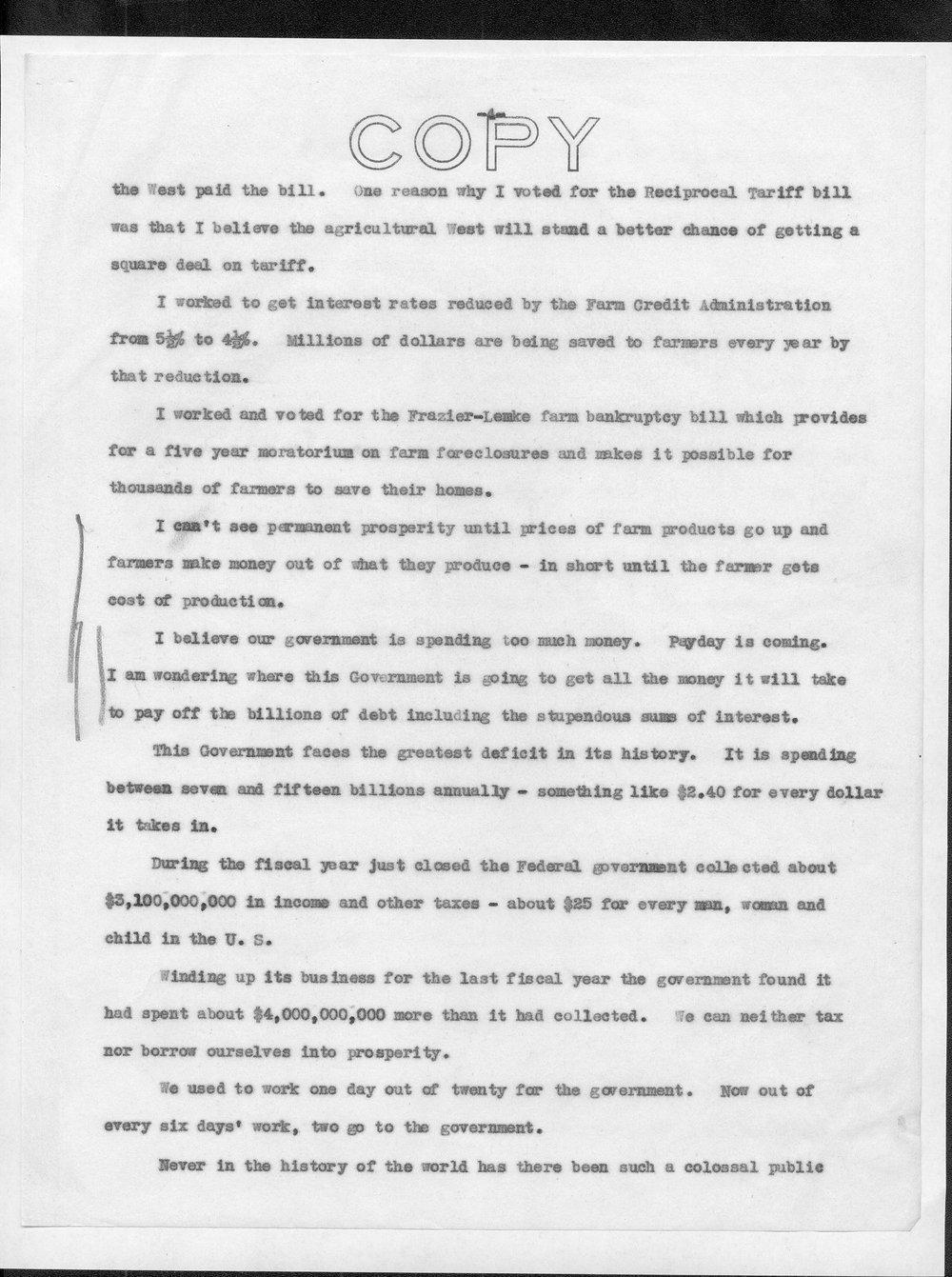 Draft of Senator Arthur Capper's New Deal speech - 4
