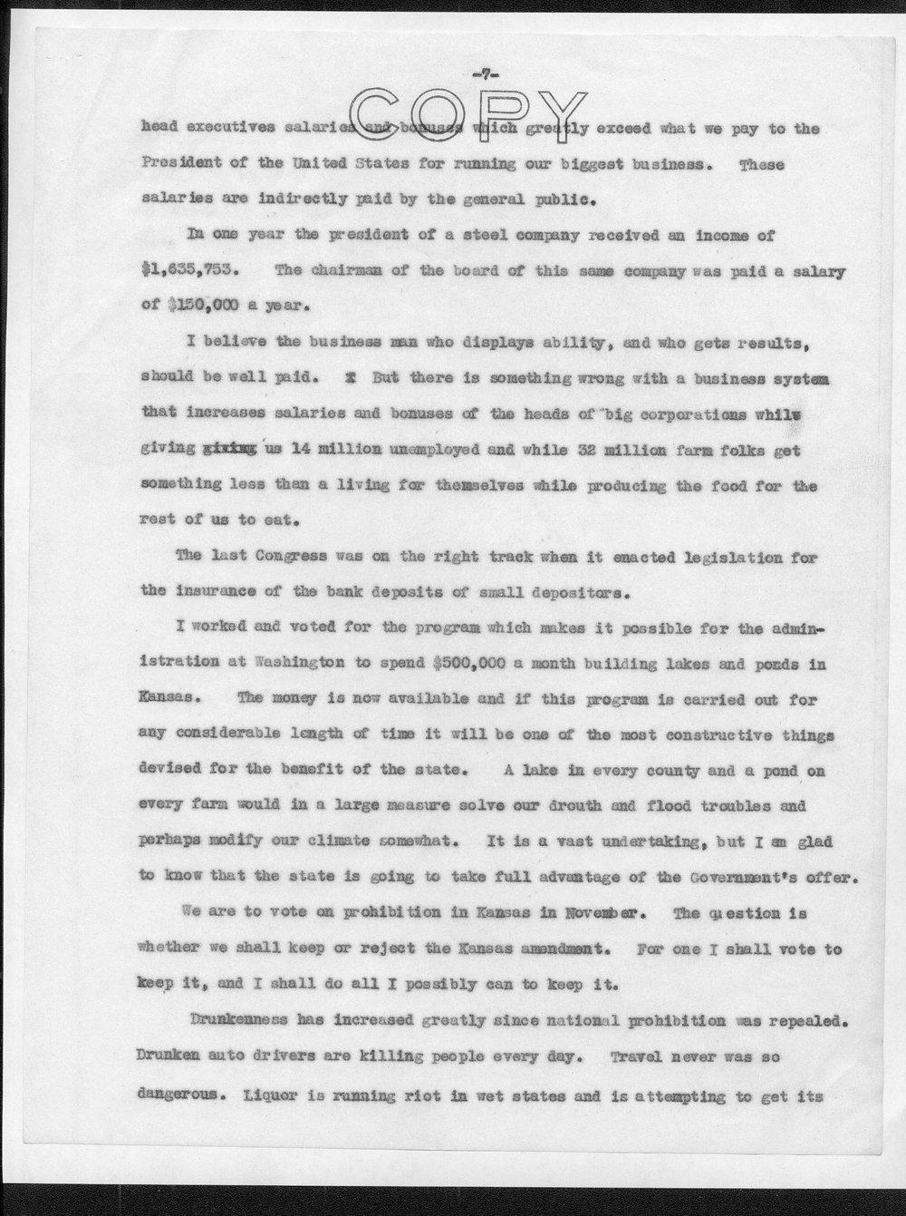 Draft of Senator Arthur Capper's New Deal speech - 7