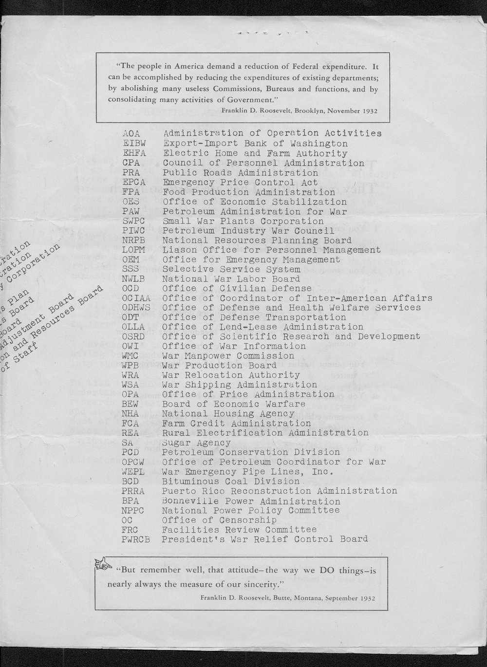 Alphabetical agencies created under the Roosevelt New Deal Party - 3