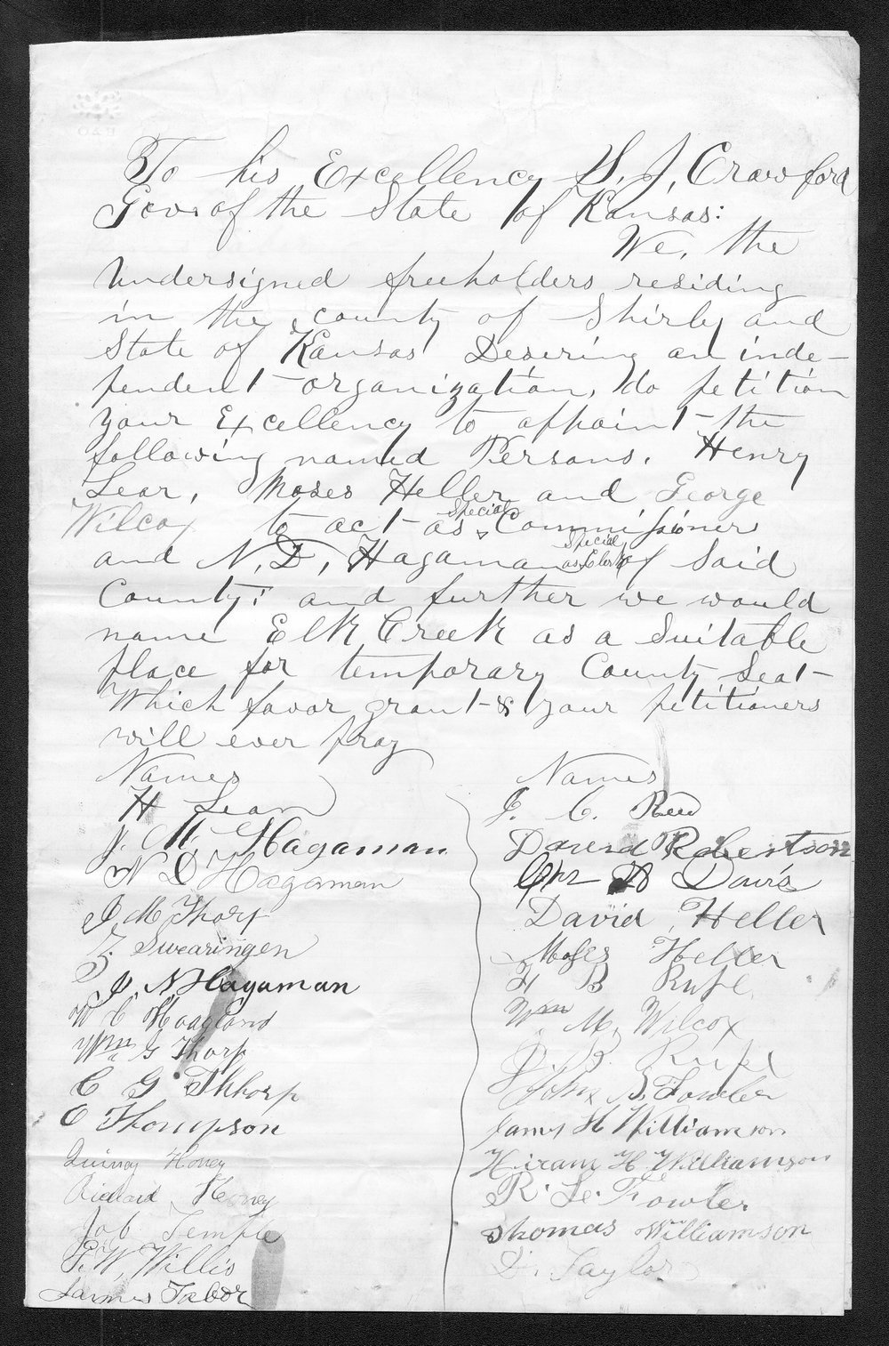 Shirley County organization records - 1