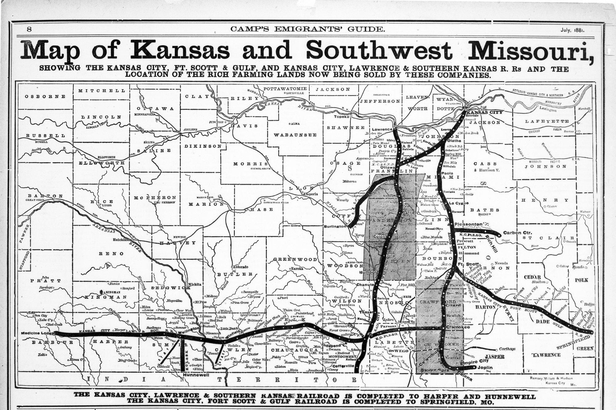 Map Of Kansas And Southwest Missouri Kansas Memory Kansas