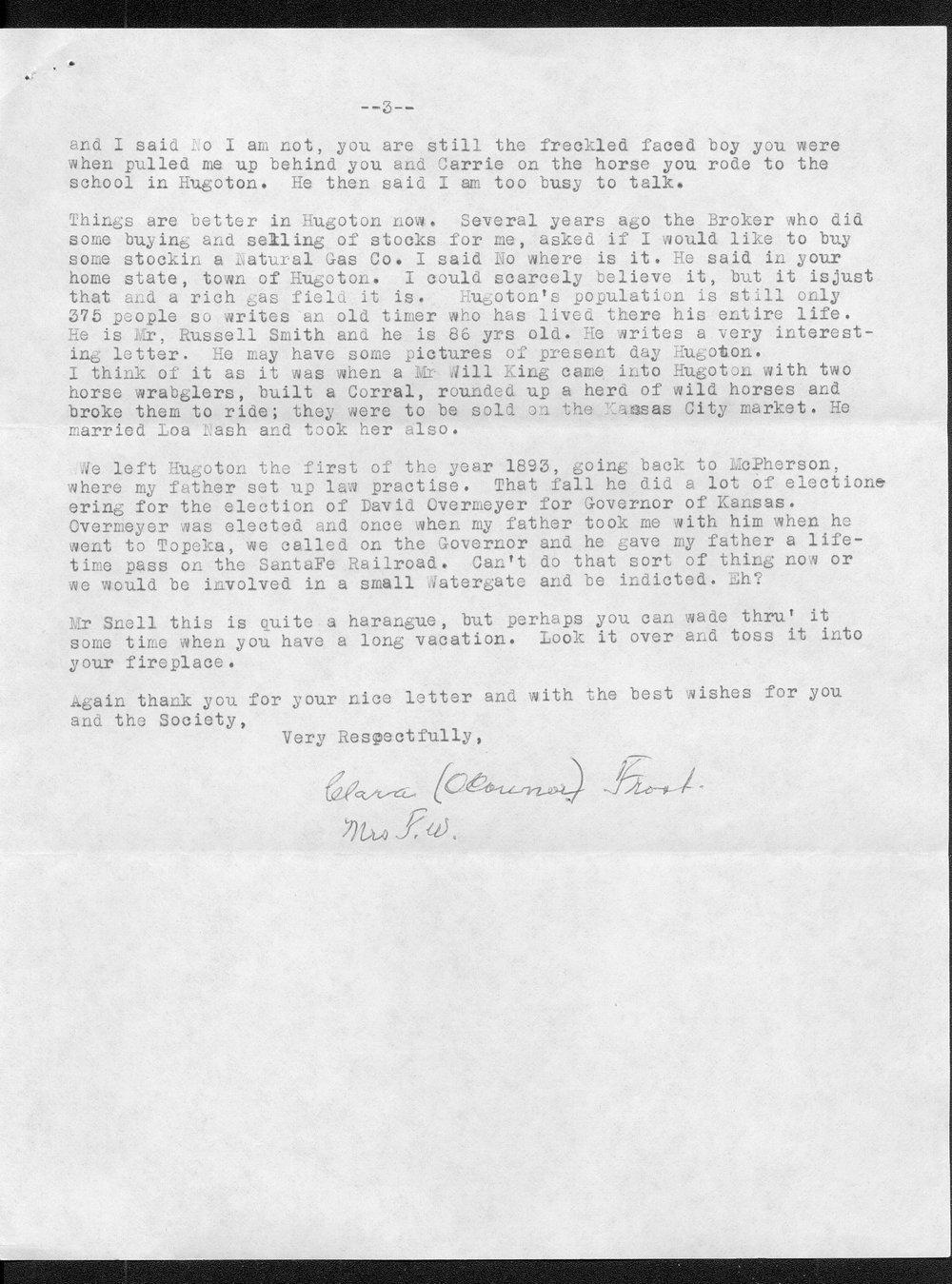 Clara Frost to Joseph Snell - 3