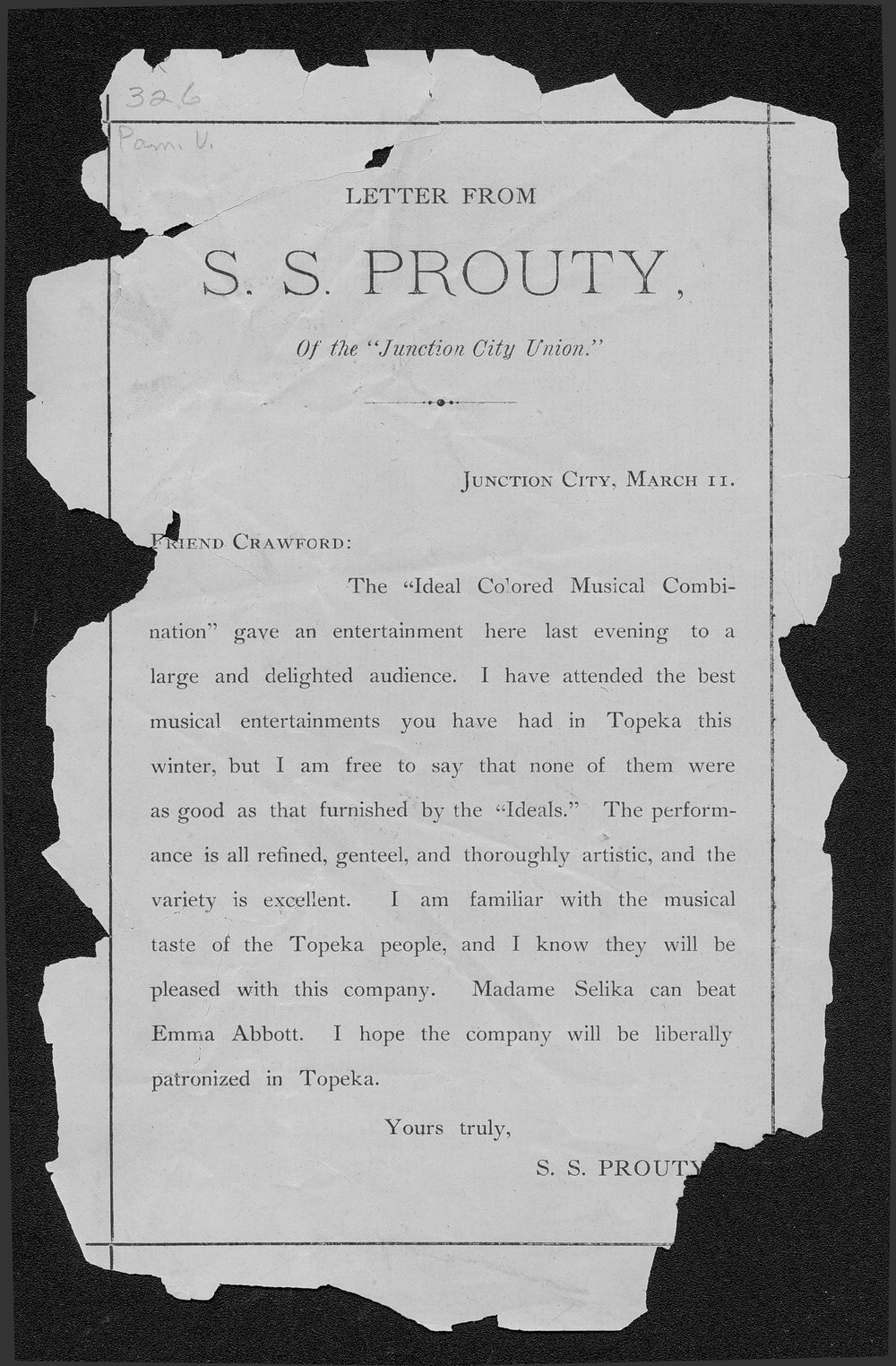 Letter from S.S. Prouty to Crawford