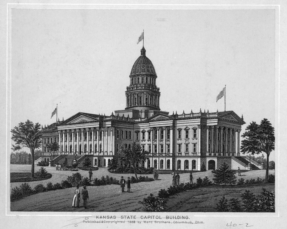 Engraving of the Kansas State Capitol Building, 1888