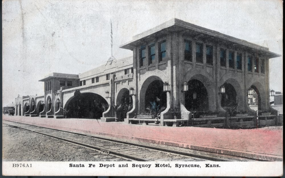 Atchison Topeka Santa Fe Railway Company Depot The Fred Harvey Sequoyah Hotel Syracuse Kansas