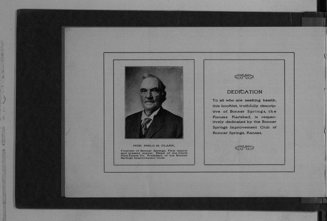 Bonner Spings. The Kansas Karlsbad - Dedication