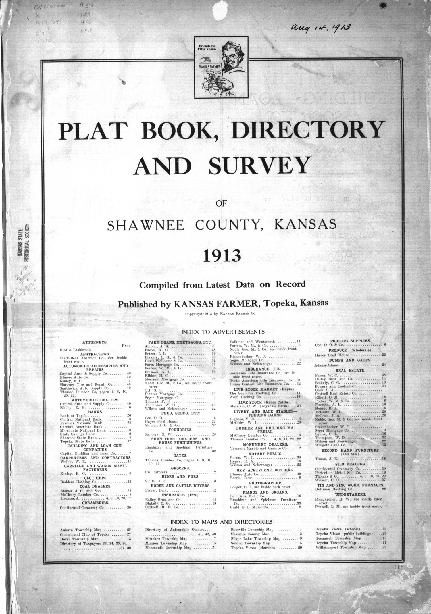 Plat book, directory and survey of Shawnee County, Kansas - 1