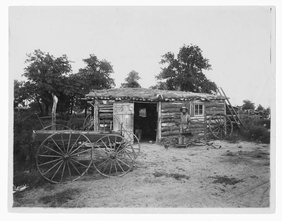 Log cabin near Kiowa, Kansas
