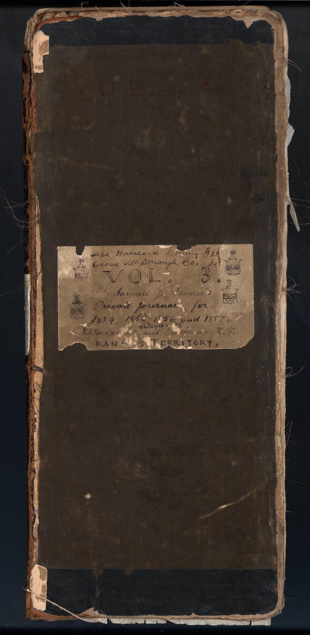 Samuel Reader's diary, volume 3 - Cover