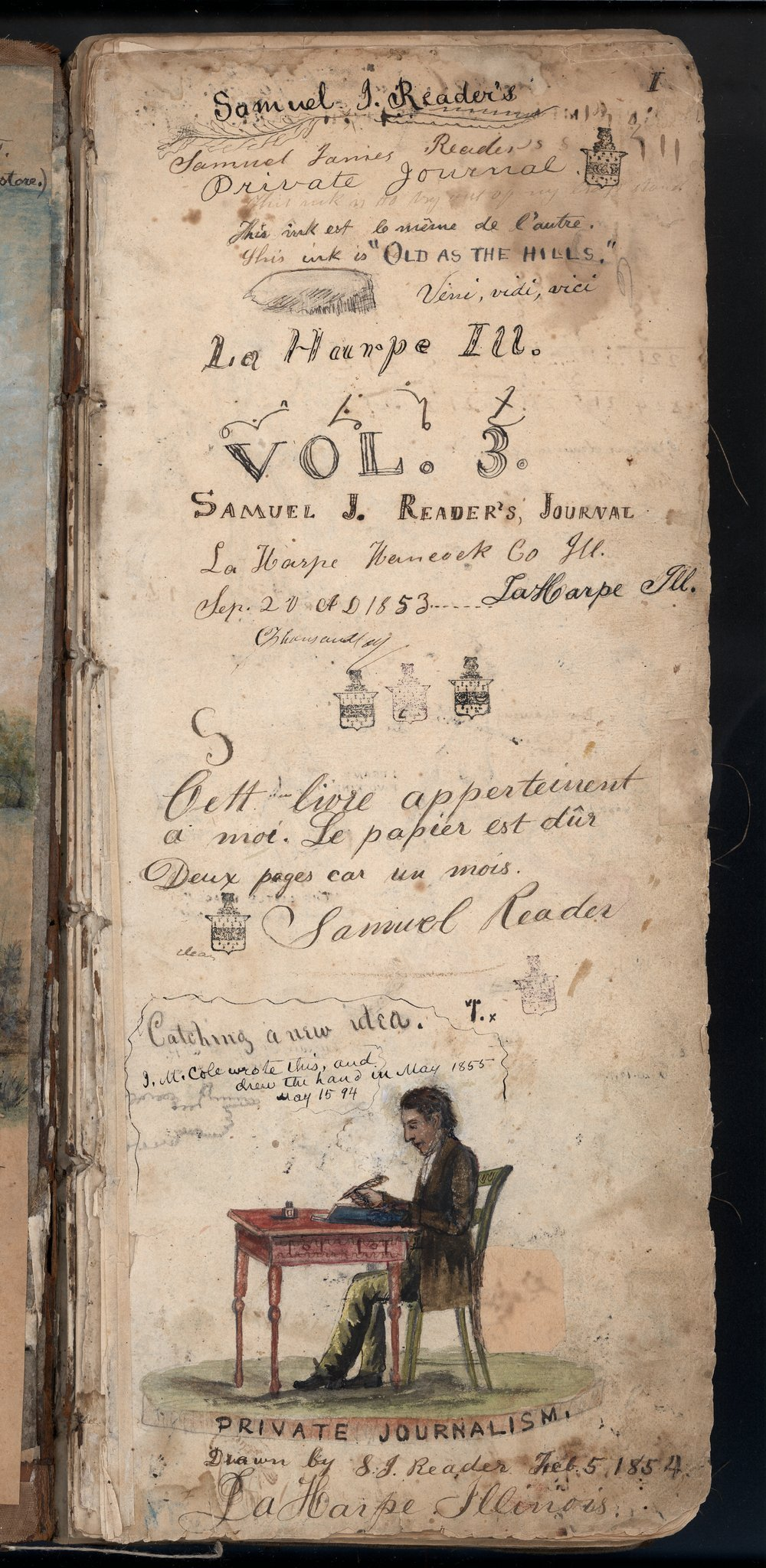 Samuel Reader's diary, volume 3 - Title page