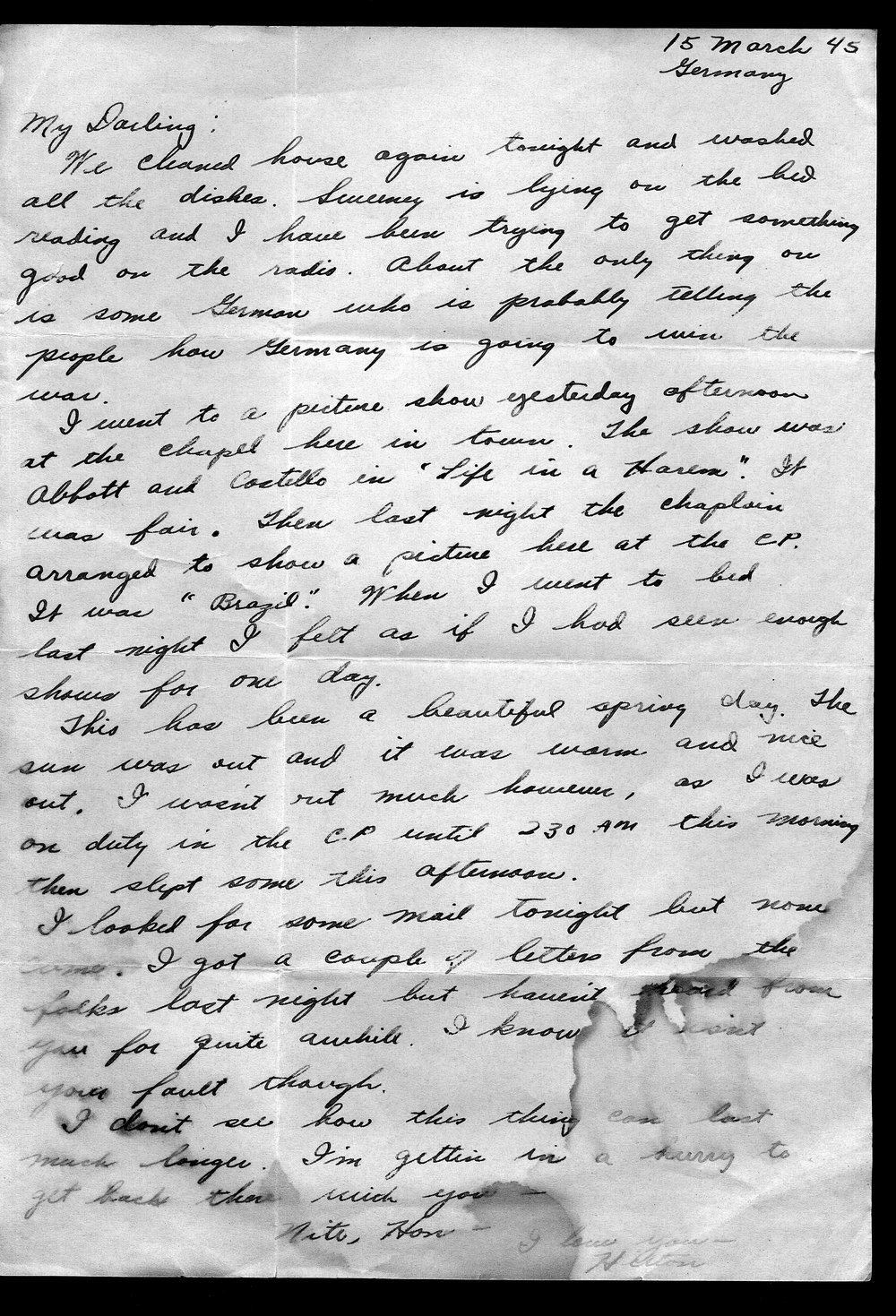 Letters from Hilton Parris Mize to his wife Irene Rosenberger Mize - 1