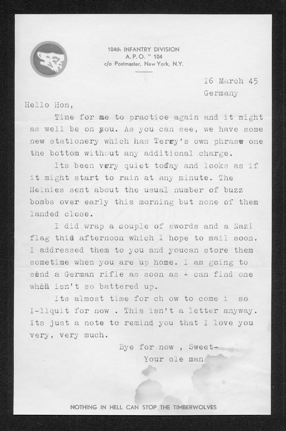 Letters from Hilton Parris Mize to his wife Irene Rosenberger Mize - 2