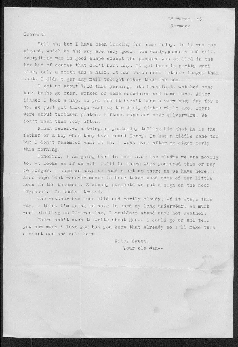 Letters from Hilton Parris Mize to his wife Irene Rosenberger Mize - 5