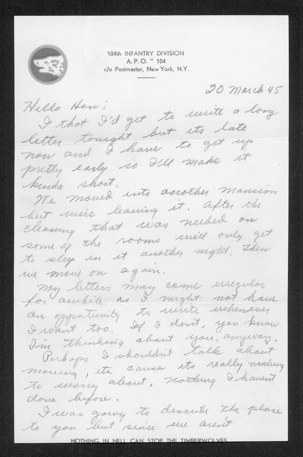Letters from Hilton Parris Mize to his wife Irene Rosenberger Mize - 6