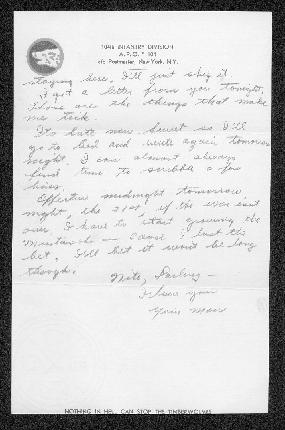 Letters from Hilton Parris Mize to his wife Irene Rosenberger Mize - 7