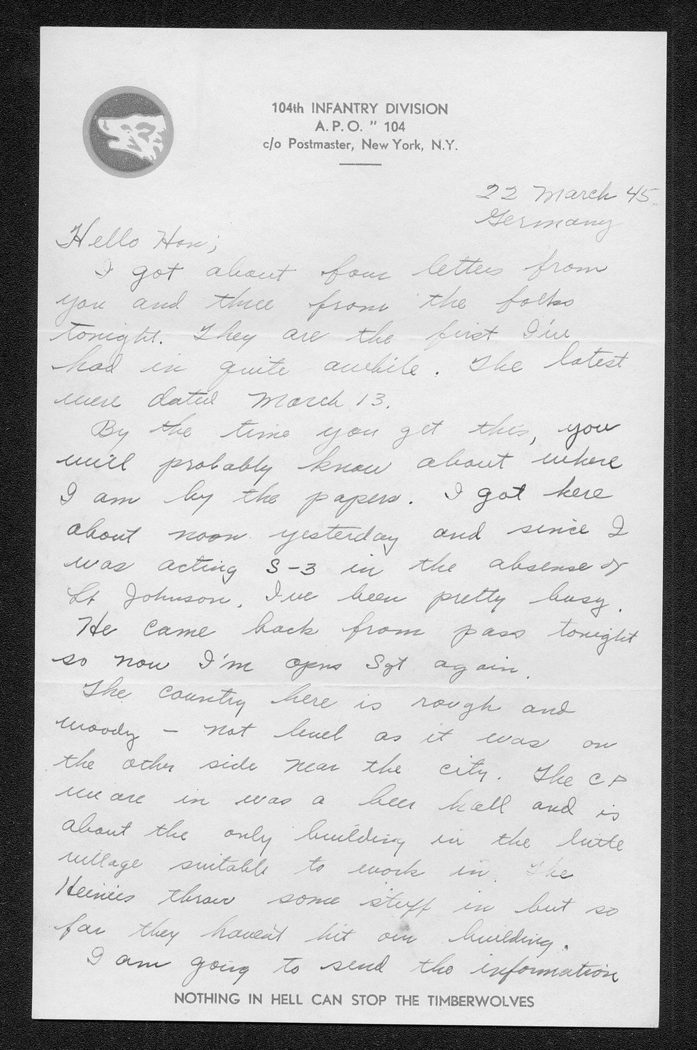 Letters from Hilton Parris Mize to his wife Irene Rosenberger Mize - 8