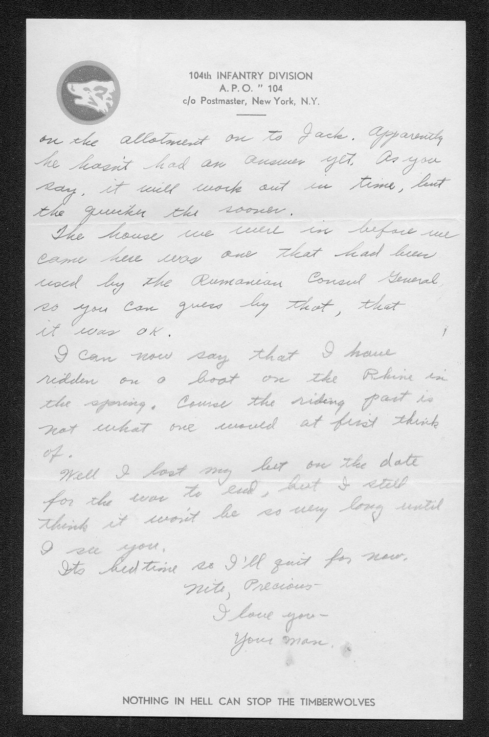 Letters from Hilton Parris Mize to his wife Irene Rosenberger Mize - 9