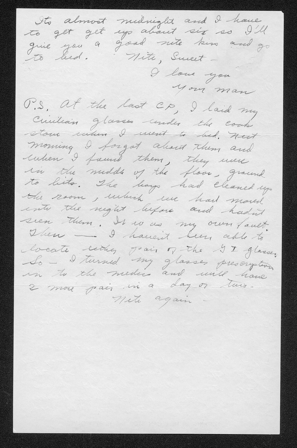 Letters from Hilton Parris Mize to his wife Irene Rosenberger Mize - 11