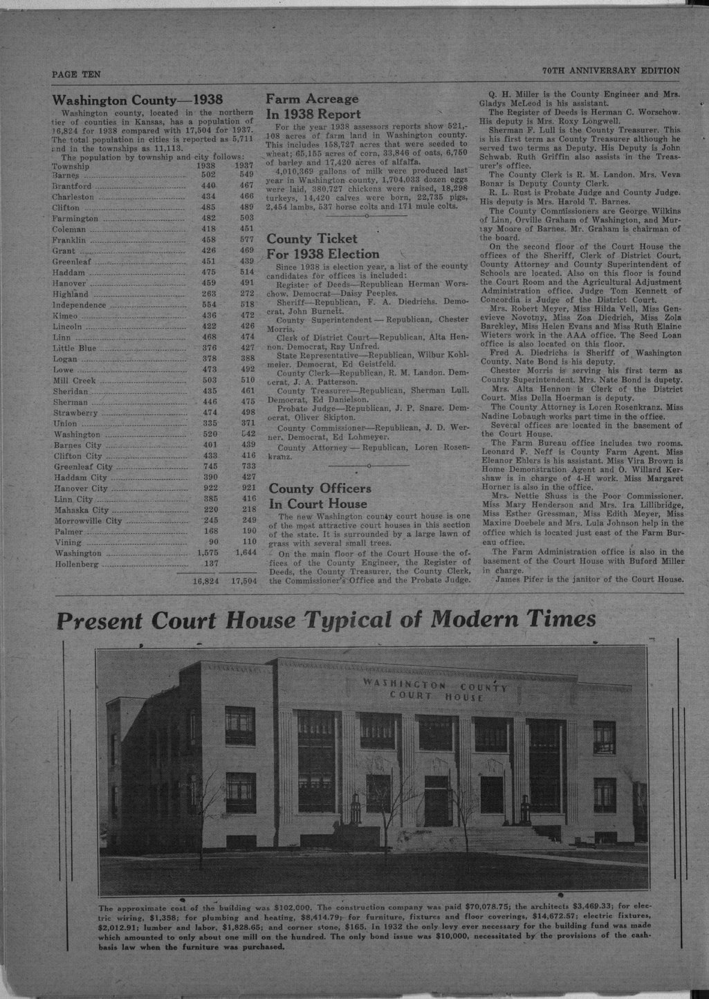 70th anniversary edition supplement to the Washington County Register - 10