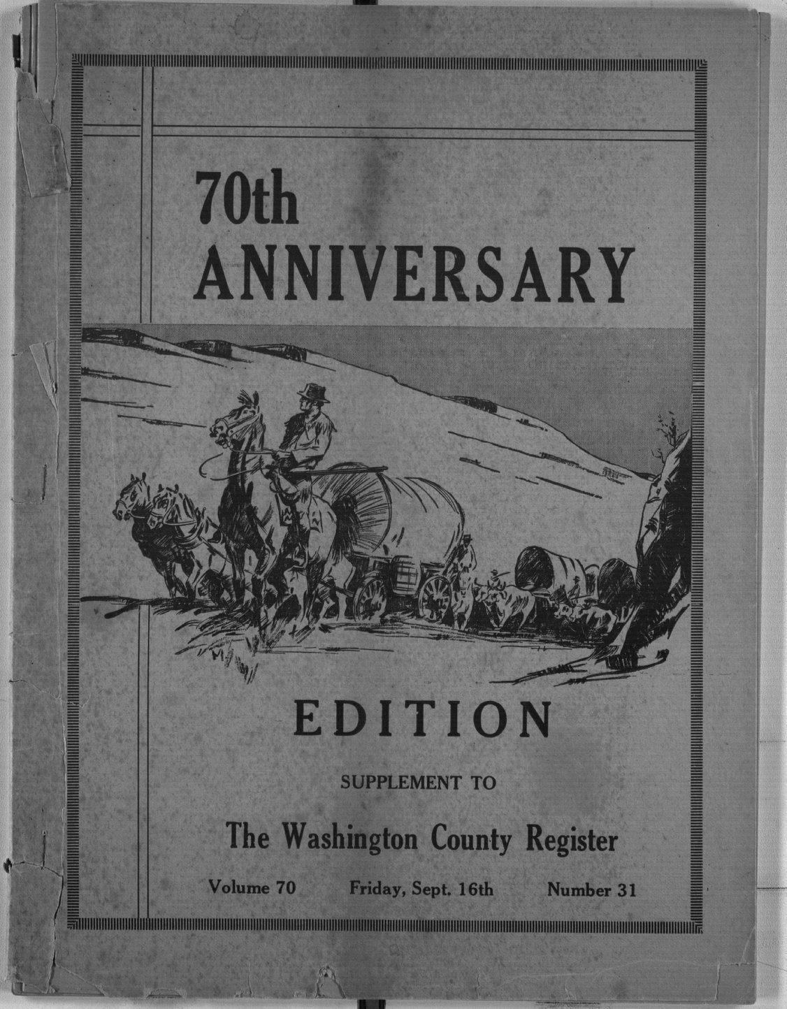 70th anniversary edition supplement to the Washington County Register - Front Cover