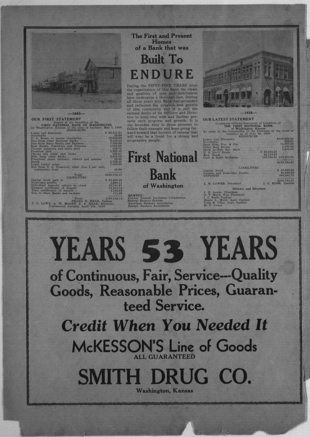 70th anniversary edition supplement to the Washington County Register - Inside Front Cover