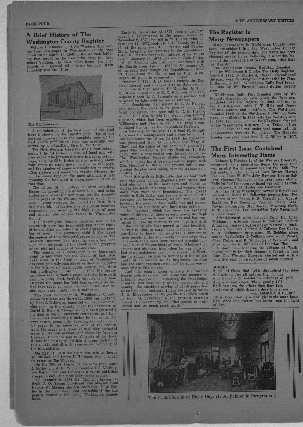 70th anniversary edition supplement to the Washington County Register - 4
