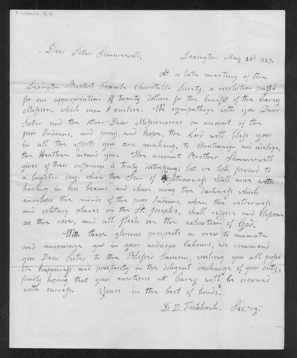 D.D. Fishbank to Mrs. Francis Simmerwell - 1