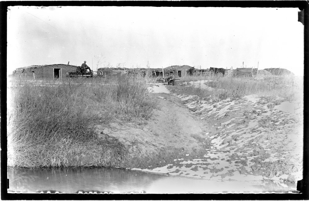 Sod house on farm in Sheridan County, Kansas