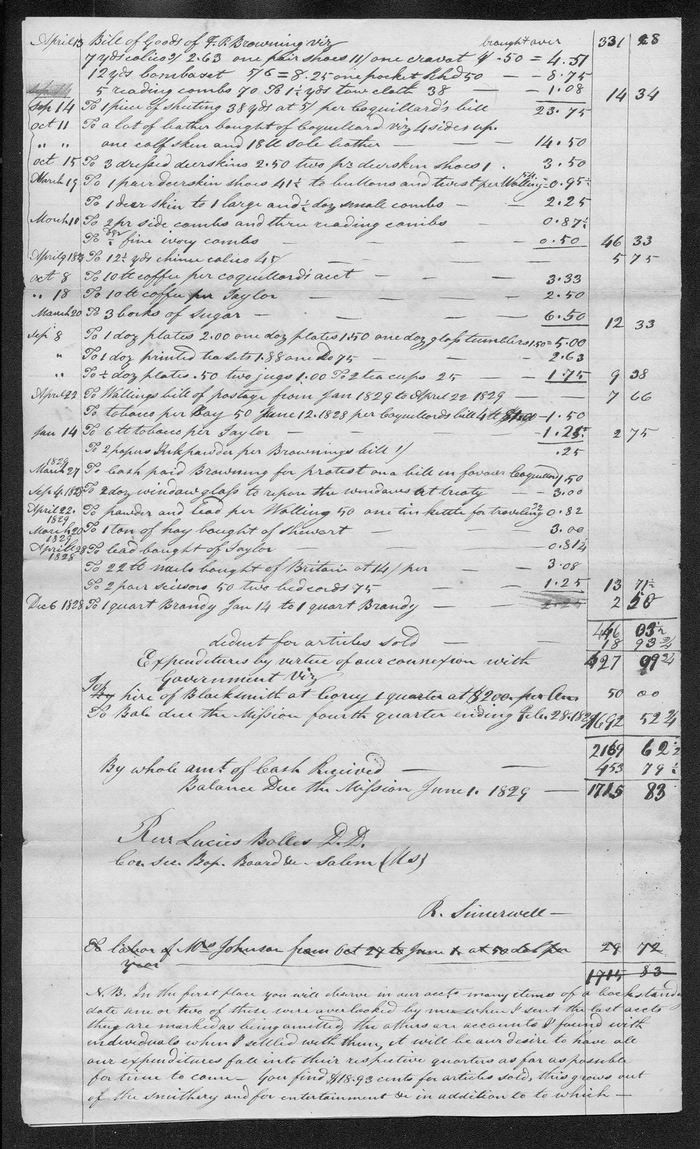Expenditures and receipts of the Carey Mission first quarter which includes march april and may 1829 - 2